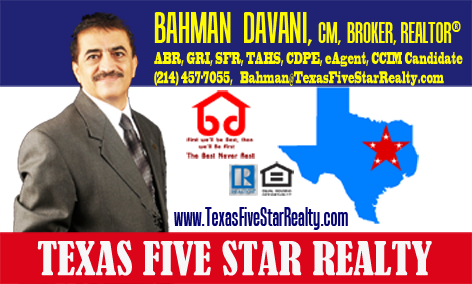 Bahman Davani from Texas Five Star Realty Serving City of Plano Texas